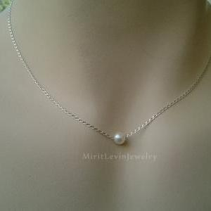 Single Pearl Necklace, on Sterling ..