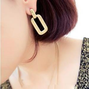 Golden Fashion Rectangle Earrings (..