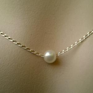 Pearl Necklace, White Pearl Pendant..