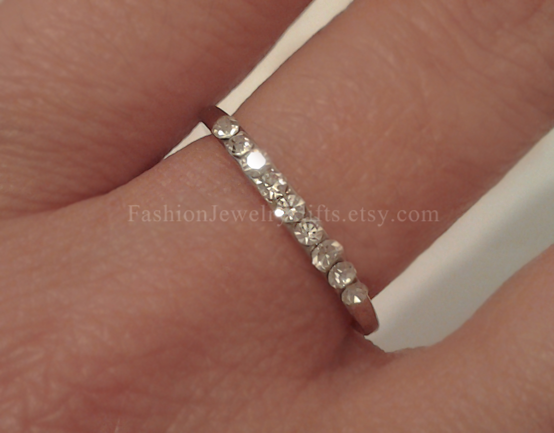 SPECIAL SALE, Non tarnish, Thin Silver Ring, Silver Stacking Ring, Rhinestone ring, Silver Band
