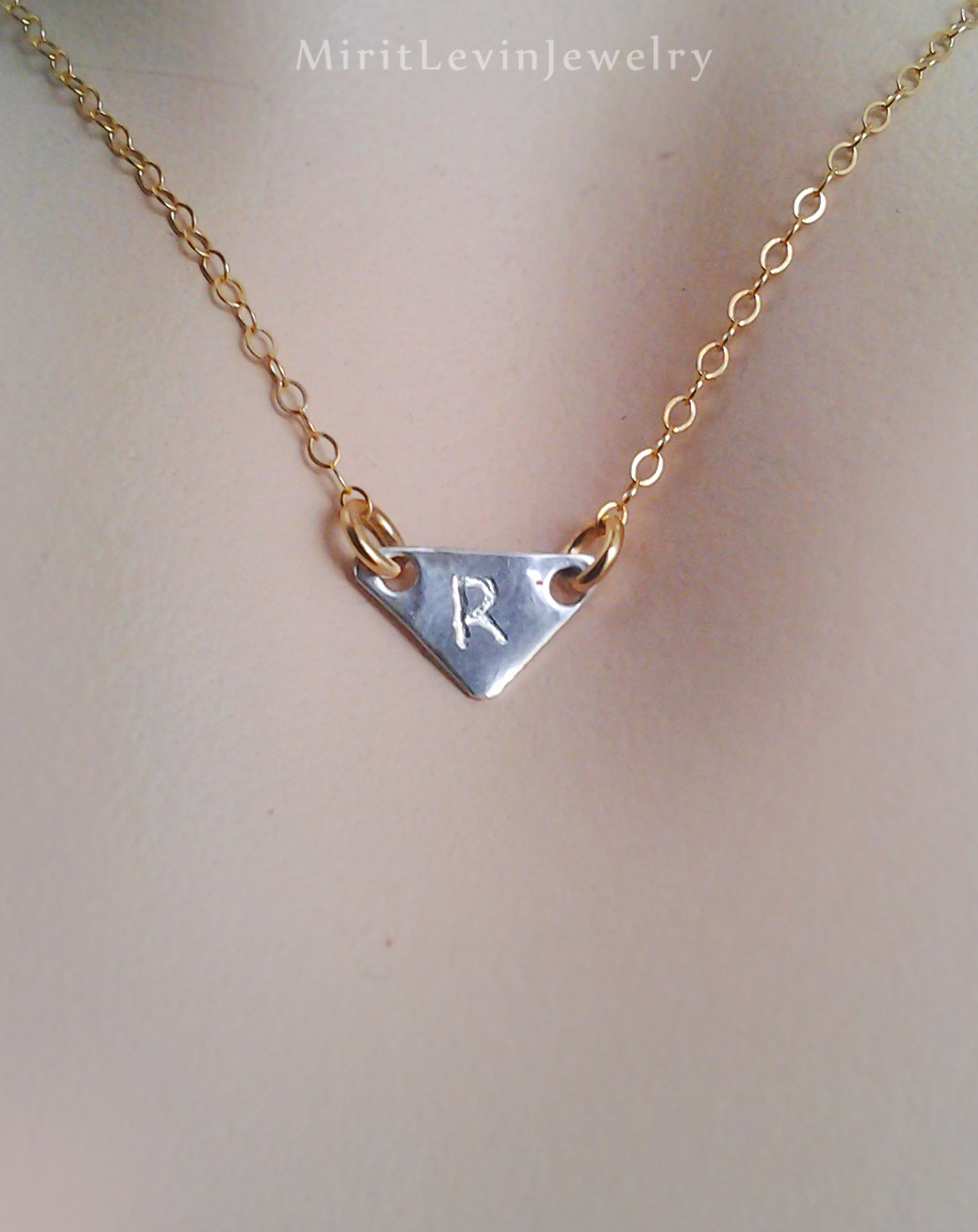 Monogram Necklace, Jewelry, Initial, personalized pendant, custom initial jewelry, monogram gift, tiny triangle, Personalized jewelry gift