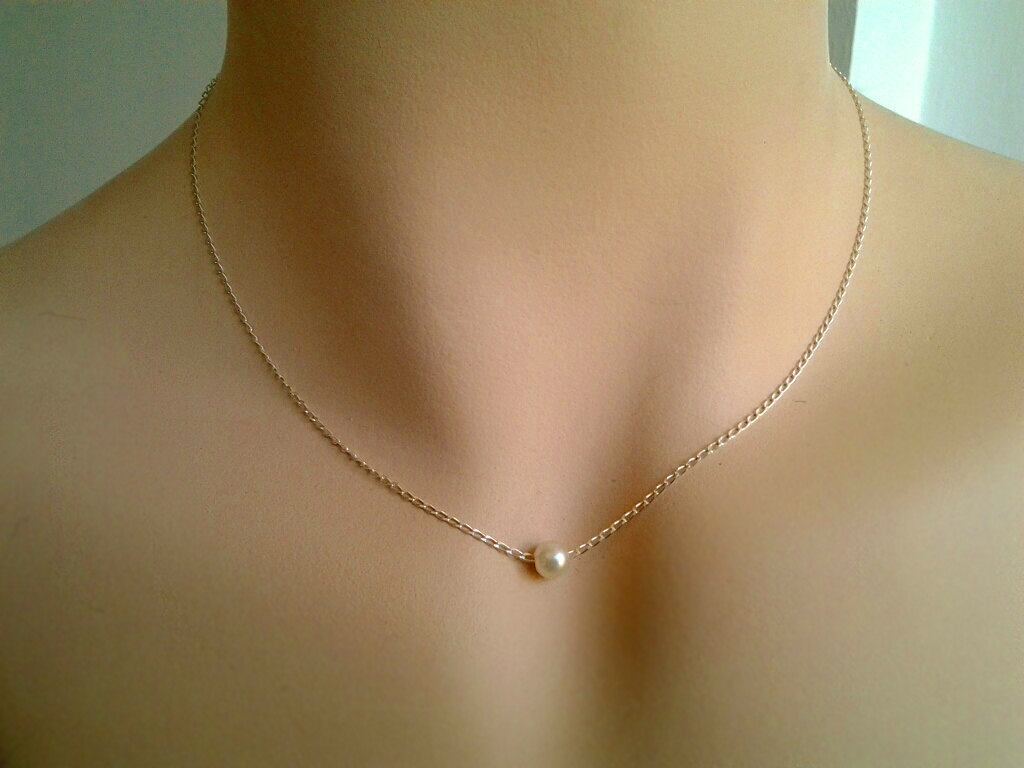 Pearl necklace white pearl pendant necklace single freshwater pearl necklace white pearl pendant necklace single freshwater pearl on sterling silver chain aloadofball Images