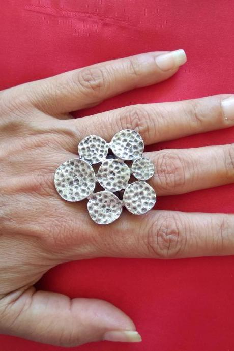 Big silver statement ring , Adjustable