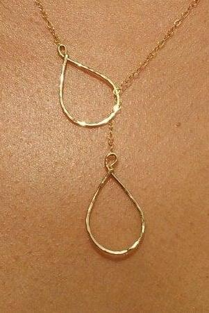 Bridesmaid gifts Set of 3 Bridesmaid Gift necklace Lariat Gold or Silver Tear drop Lariat special meaning Wedding Jewelry