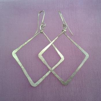Hoop Open square Earrings,Geometric jewelry, dangle earrings,square hoops, Lovely Gift, Sterling Silver or Gold