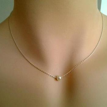 Pearl Necklace, White Pearl Pendant Necklace - single freshwater pearl on sterling silver chain